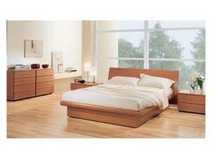 Camera 36, Camera con letto contenitore, in legno noce tanganica, abbinabile a com� e comodini