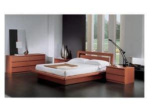 Camera 49, Letto con contenitore, in legno finitura ciliegio, per camere da letto contemporanee
