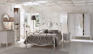 Caruso, Letto matrimoniale in alluminio, per camere classiche