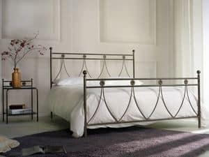Crystal, Letto matrimoniale classico in metallo, per Camera da letto