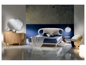 LE14 Iride letto, Letto in pelle lavorato a mano, stile leggero e dinamico