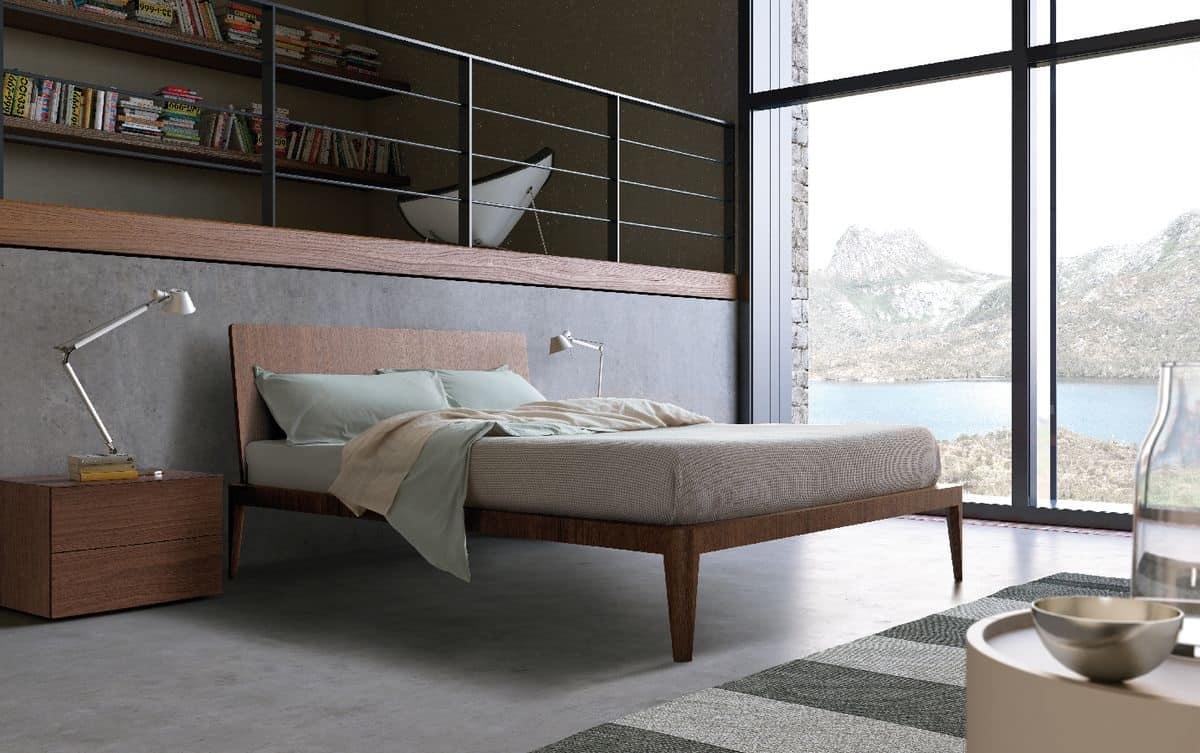 Spillo_014, Letto in legno dalle linee snelle, per hotel e camera