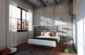 Rettangolo, Letto con testiera libreria ideale per appartamenti moderni