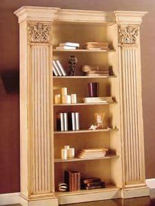 Art. 756, Libreria laccata, con capitelli, per soggiorno classico