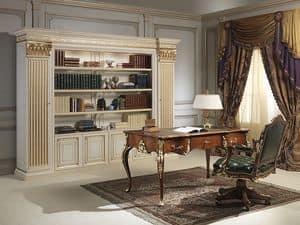 Art. 80/4 libreria, Imponente libreria in legno  intagliato a mano, in stile classico