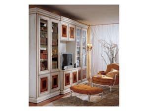 Display libreria 731 A, Libreria classica di lusso in legno