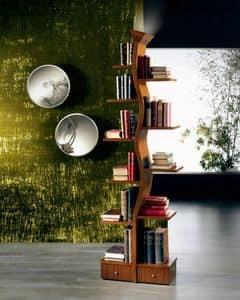LB02 Giovane Albero libreria, Libreria con lampada, a forma d'albero, in legno