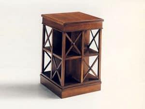 Stevenson, Libreria classica in legno, girevole, in mogano massello