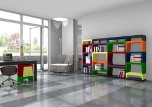 Annabelle, Libreria modulare multicolore in laminato laccato