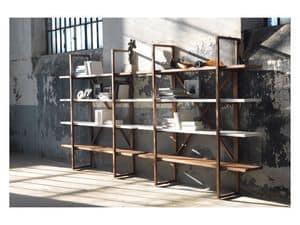 Assioma, Libreria in legno massello, per salotti in stile moderno