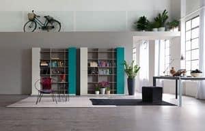 Citylife 32, Composizione moderna per salotto, con libreria