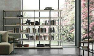 Comp. A102, Libreria con struttura metallo e ripiani in legno