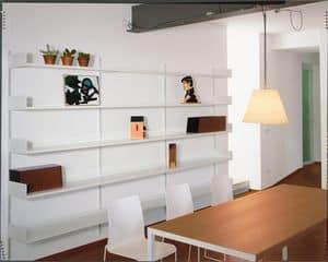 Elle System Living, Libreria a muro, modulare, in metallo laccato, per soggiorno