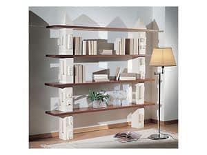 Gaia Libreria , Libreria modulare in pietra, ripiani in vetro o legno