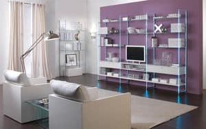 Glassystem comp.01, Librerie lineari, mobile soggiorno, struttura in vetro, ripiani in legno o vetro