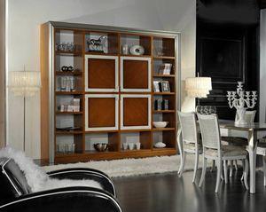 Granato, Libreria in legno con ante centrali
