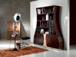 LB13 Cartesio libreria, Libreria in legno ebano makassar curvato, decori floreali