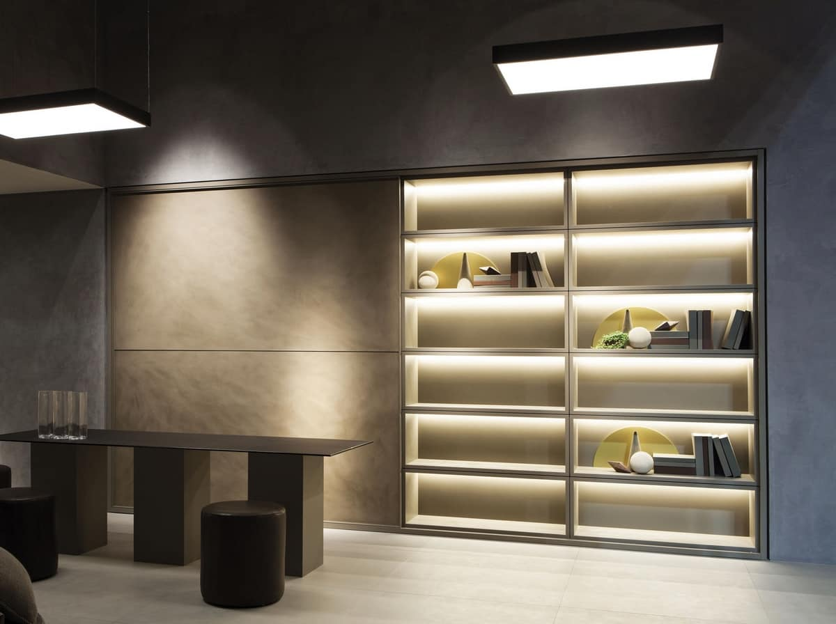 Libreria con armadio con anta scorrevole, con luci | IDFdesign