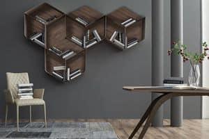 PANGEA, Libreria componibile, composta da cubi in legno e metallo