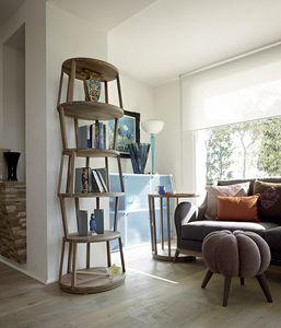 Raven libreria ovale, Libreria moderna in legno, con base ovale