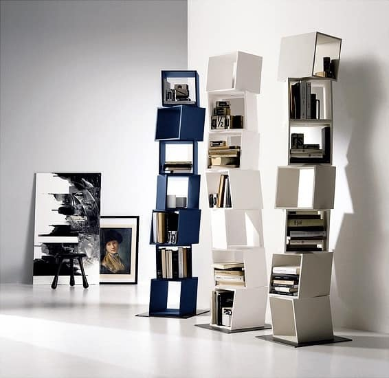 RUBIK comp.01, Libreria composta da moduli girevoli, per case moderne