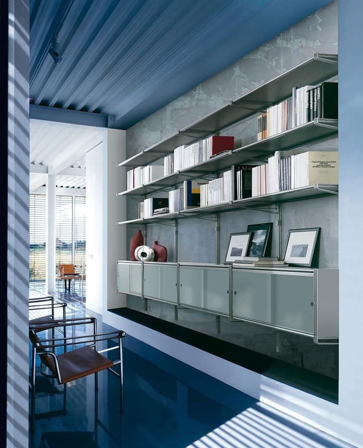 Socrate parete, Libreria componibile da parete, ripiani in vetro