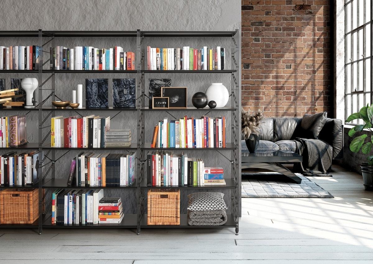 Socrate, Libreria in metallo con ripiani in vetro temperato