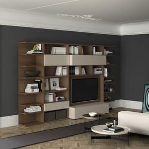 Spazioteca SP011, Libreria moderna in legno, con spazio tv