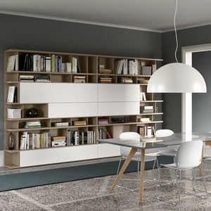 Spazioteca SP020, Libreria modulare moderna, in legno, personalizzabile