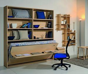 Surf LS441 scrivania, Libreria con scrivania e letto a ribalta