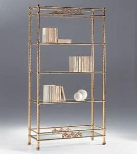 VIVALDI 1082, Libreria in ottone con piani in vetro, per salotti