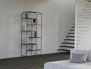 Yin, Libreria in ferro con scaffali in legno