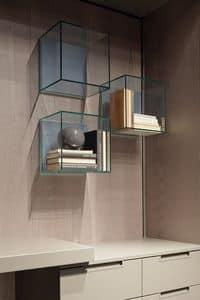 GLASSBOX comp.01, Mensole originali in legno e cristallo, per salotti e uffici