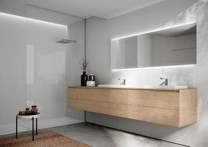 Cubik comp.16, Mobile da bagno con due lavabi, dal design essenziale