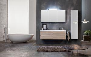 Kami comp.01, Mobile bagno componibile con doppio lavabo