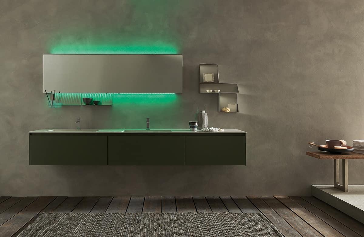 Arredo bagno con doppio lavabo in gres, finitura verde muschio  IDFdesign