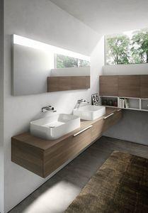 My time comp.07, Mobile da bagno con due lavabi in ceramica