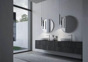 Sense comp.04, Arredo per bagno con due lavabi tondi in ceramica
