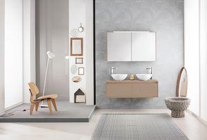 Summit 2.0 comp.11, Mobile bagno con doppio lavabo da appoggio