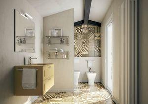 Dressy comp.04, Mobile da bagno color senape opaco, con lavabo in vetro