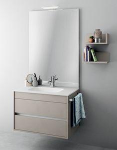 Duetto comp.08, Mobile monoblocco con specchiera per bagni di piccole dimensioni