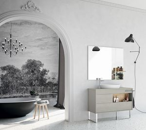 Lume comp.06, Composizione per bagno con mobili senza maniglia