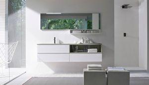 My seventy plus comp.07, Armadio da bagno, con piano in cristallo sabbiato