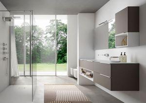 My time comp.01, Mobile moderno da bagno, con lavabo in cristallo extrachiaro