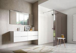 My time comp.03, Mobile per bagno in laccato bianco, con due lavabi integrati