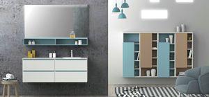Torana TR 021, Mobile da bagno bianco, con dettagli azzurri, lavabo integrato nel piano