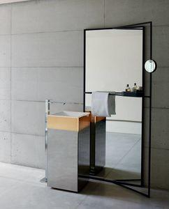 Upndino 421, Specchio e lavabo a colonna, salvaspazio