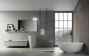 Dress 2.0 comp.01, Composizione da bagno con specchiera e mensola