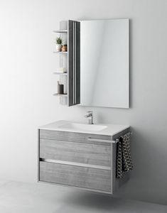 Duetto comp.01, Mobile bagno con specchiera e portaoggetti
