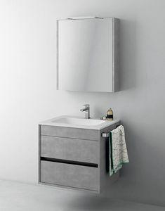 Duetto comp.02, Mobile salvaspazio per bagno, con specchiera